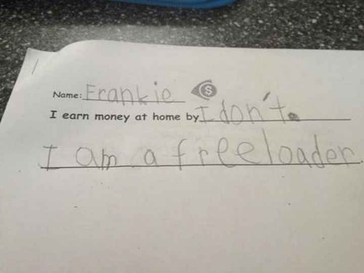18 Funny Test Answers - At least Frankie is honest.