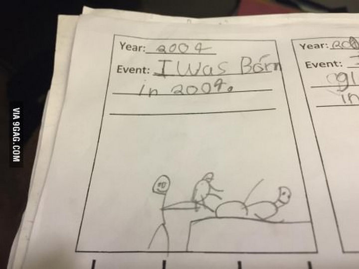 18 Funny Test Answers - This child remembers his birth pretty accurately.