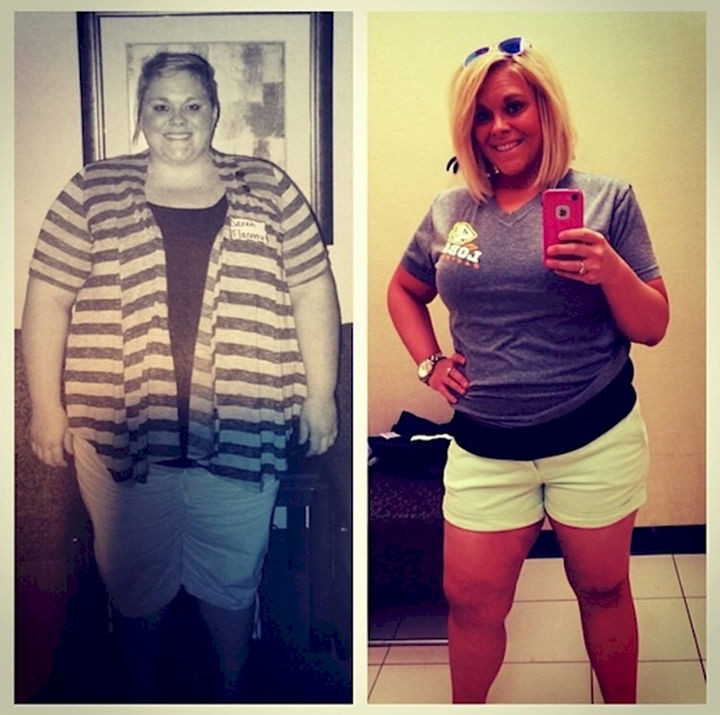18 Before and After Weight Loss Photos - Reddit user sflannery86 lost a total of 211 pounds and went from 384 to 173 lbs. She looks incredibly happy and she deserves it!