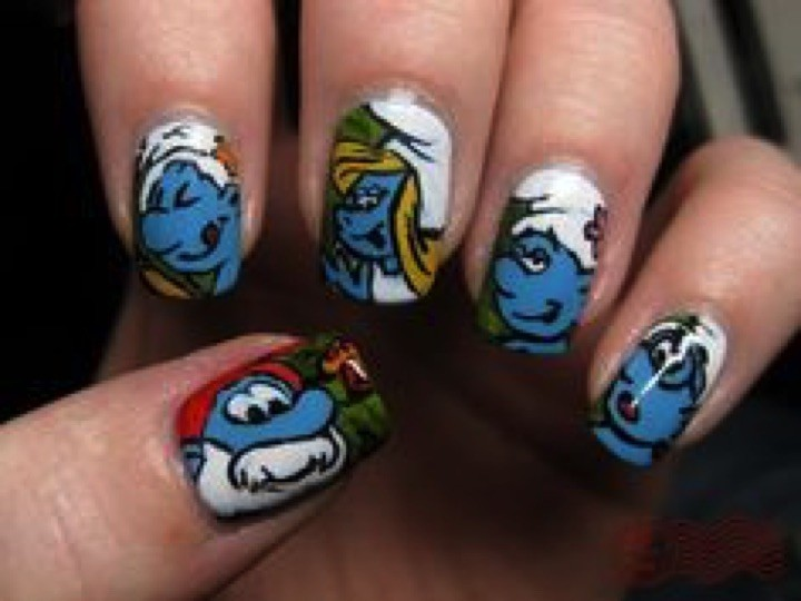 18 Saturday Morning Cartoon Nails - My favorite blue friends from the 80's, The Smurfs!