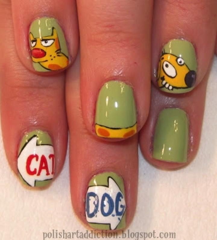 18 Saturday Morning Cartoon Nails - CatDog!