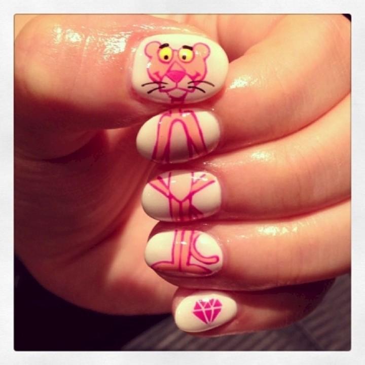 18 Saturday Morning Cartoon Nails - Full length Pink Panther nails!