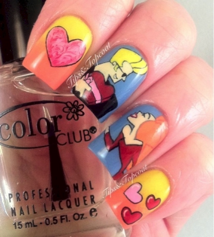 18 saturday morning cartoon inspired nail art designs 14 how to get awesome nails johnny bravo style prinsesfo Image collections