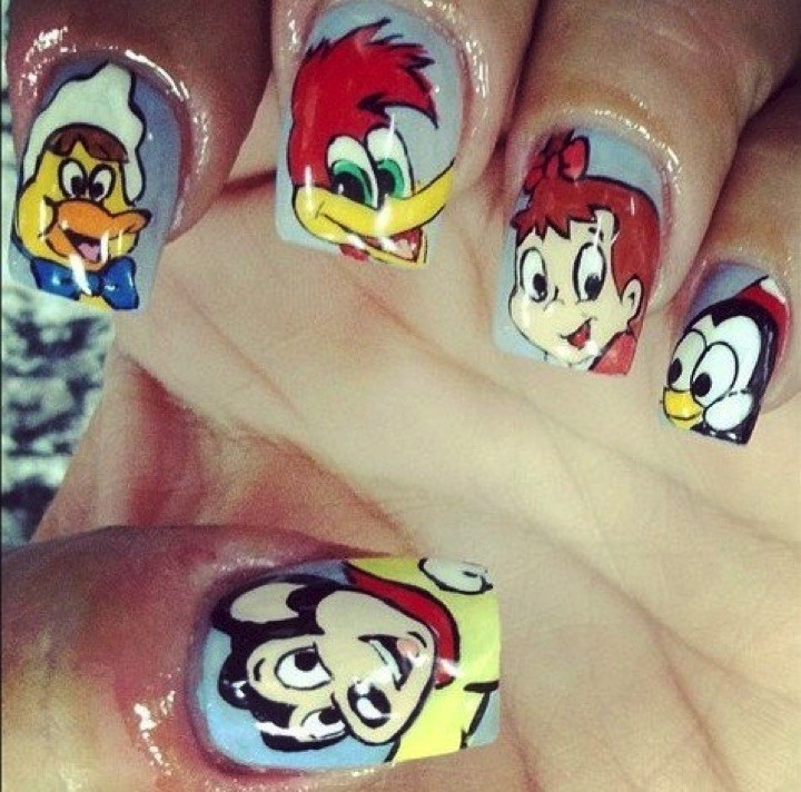 18 Saturday Morning Cartoon Nails - Classics from the golden age of television. Woody Woodpecker, Mighty Mouse, Chilly Willy, and so many more!