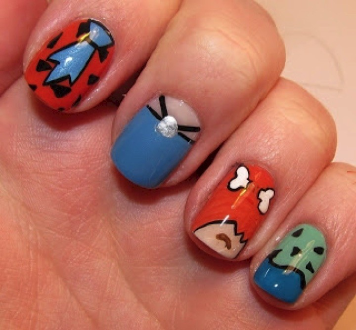 18 Saturday Morning Cartoon Nails - Our favorite prehistoric family, The Flintstones!