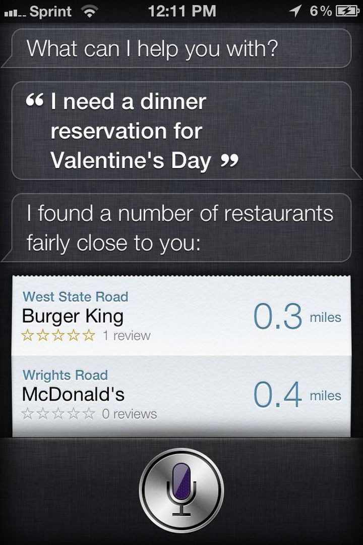 Siri wants to make sure you impress your date on Valentine's Day.