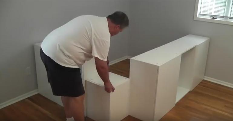 Ikea hack diy platform bed built from ikea kitchen cabinets for Ikea cabinet bed hack