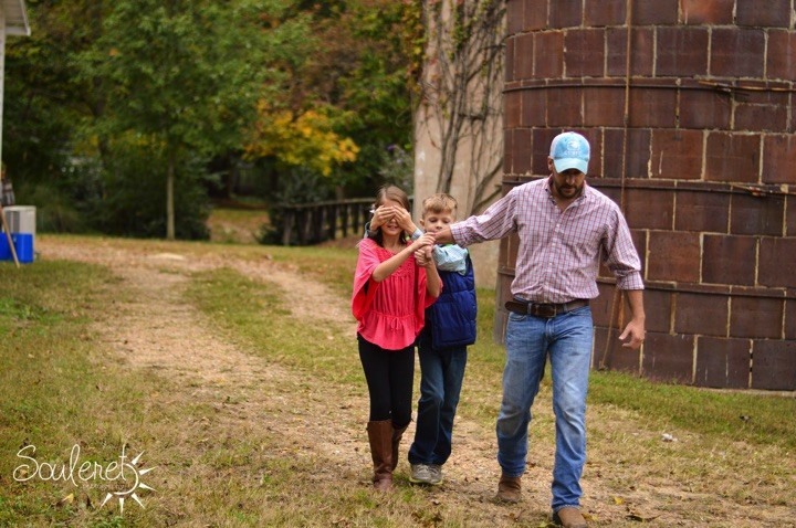 His son covered her eyes and they led her to the perfect spot to pop the question.