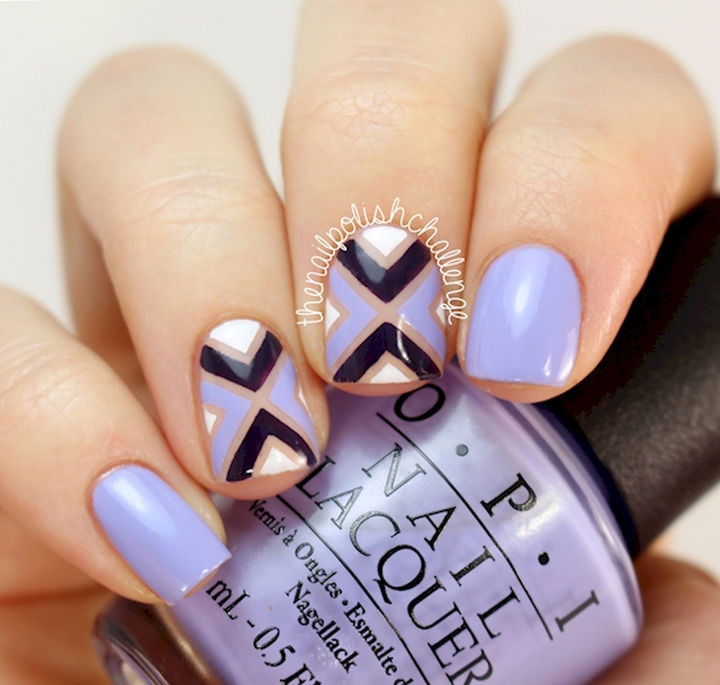 22 Purple Nail Designs - Work your magic with striping tape.