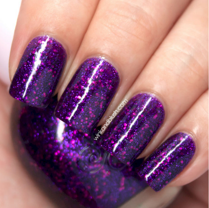 22 Purple Nail Designs - Warm purple color with tons of fine purple glitter.