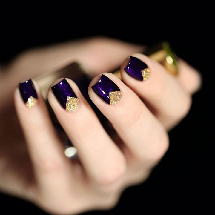 22 Purple Nail Designs - A striking effect with the use of gold and purple.
