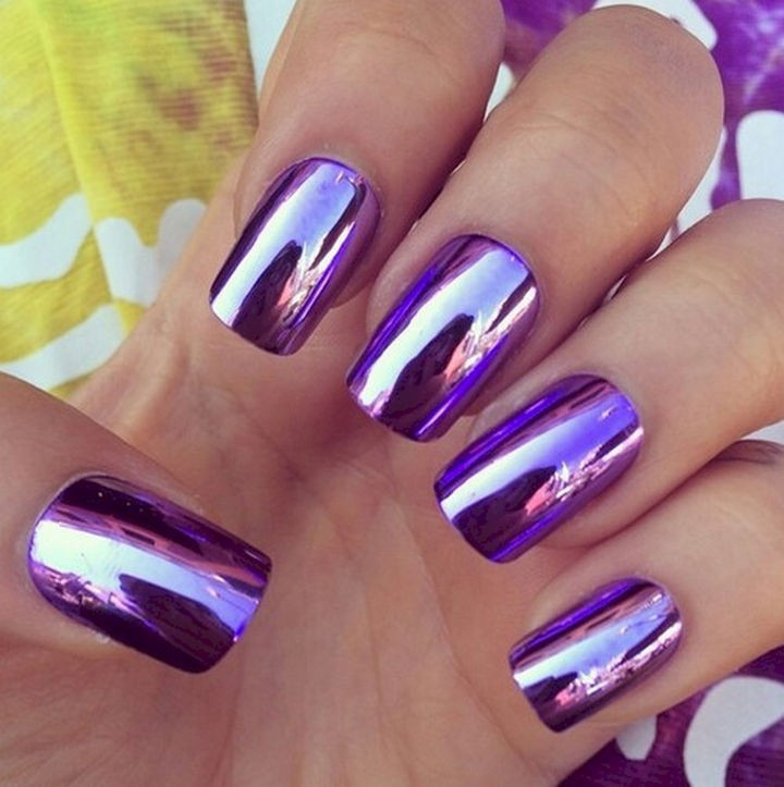 15 Incredibly Shiny Metallic Purple Nail Designs