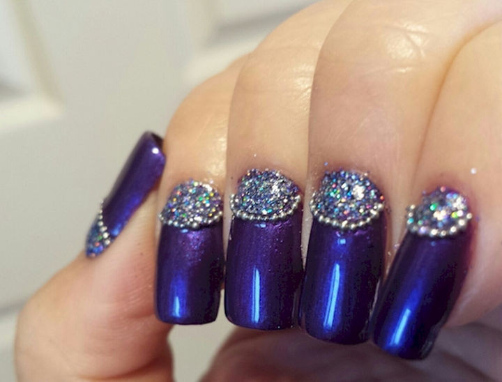22 Purple Nail Designs - Bring on the bling with purple half moons. - 22 Purple Nail Designs That Are Stunning And Will Get You Noticed