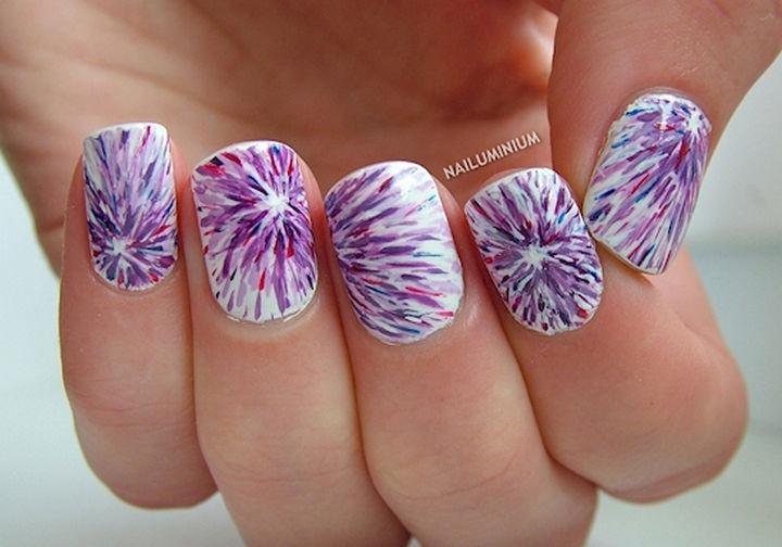 22 Purple Nail Designs - An interesting tie dye effect.