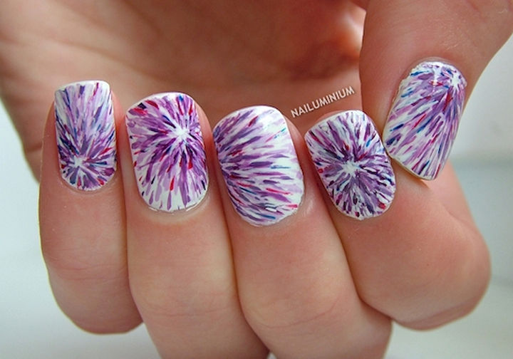22 purple nails that are stunning and will get you noticed 22 purple nails an interesting tie dye effect prinsesfo Image collections