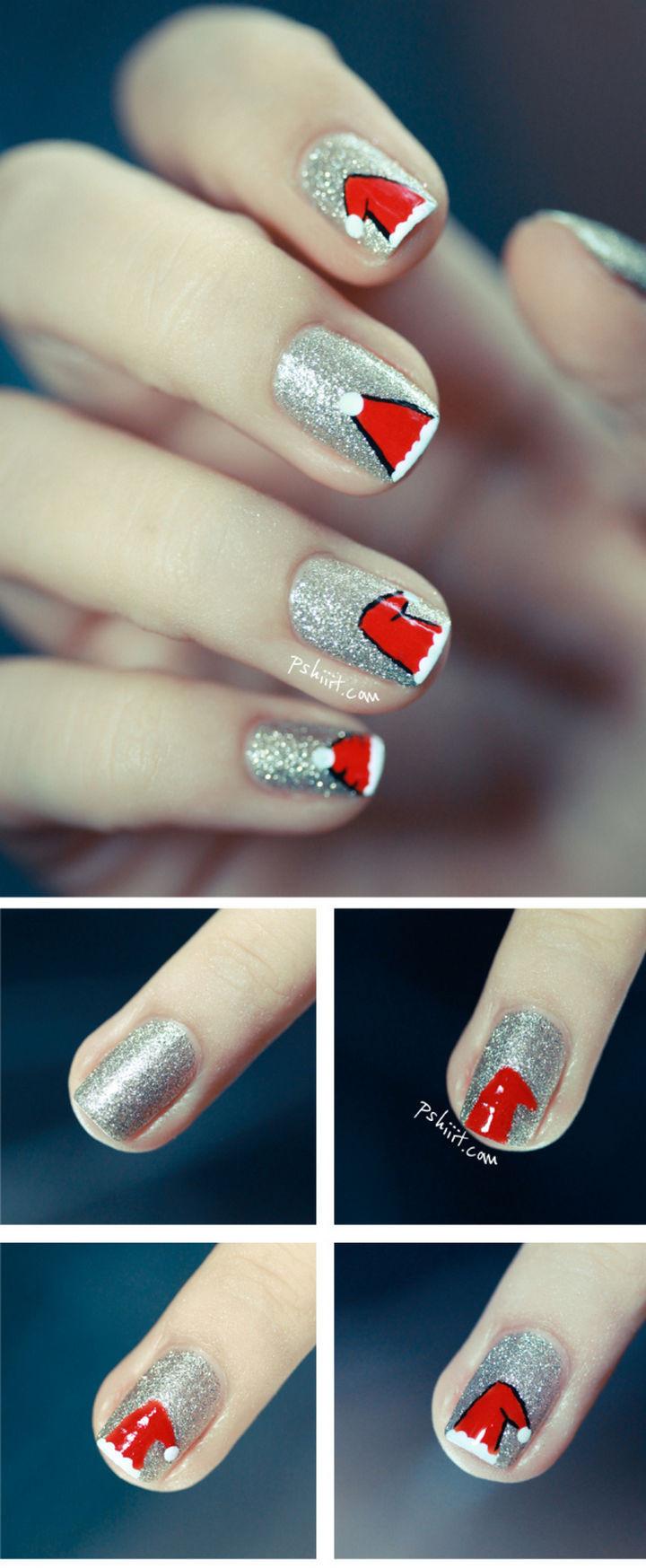 23 Christmas Nails - A variety of ideas for creating Santa Hat nails.