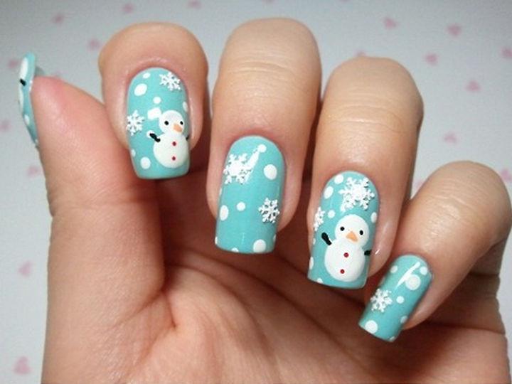 23 Christmas Nails - Beautiful snowmen nails.