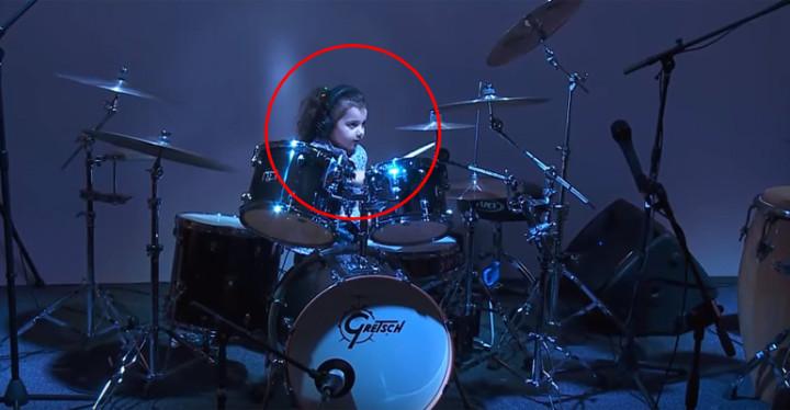 5-Year-Old Drummer Eduarda Henklein Covers Van Halen's Jump.