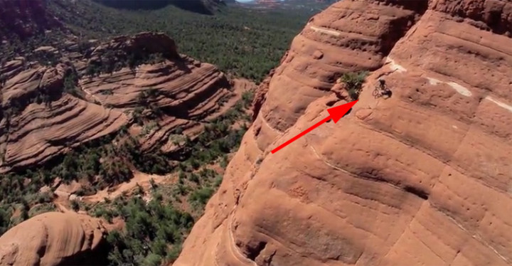 Fearless Stunt Cyclist Rides White Line Trail in Sedona, Arizona.