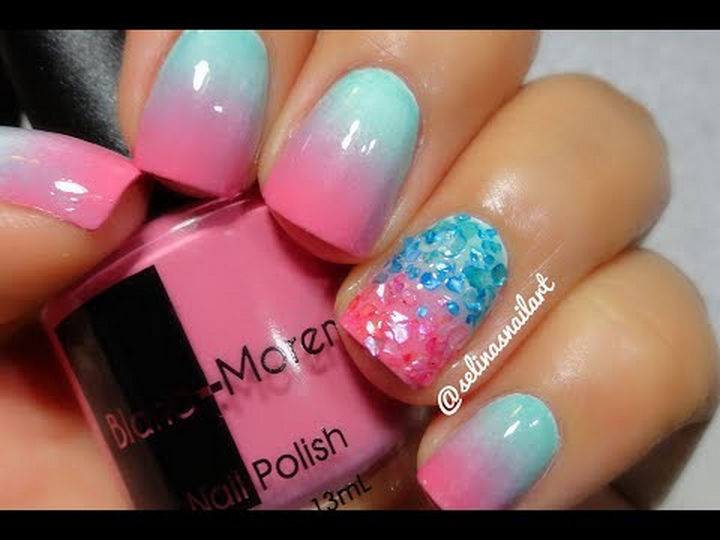 17 Cotton Candy Nails - Cotton candy gradient.
