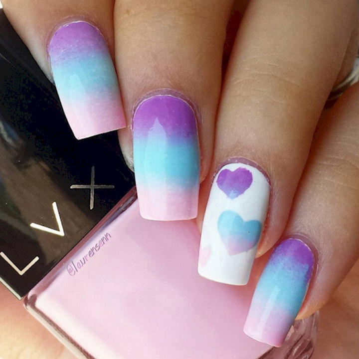 17 Cotton Candy Nails - Cotton candy nails with candy hearts!