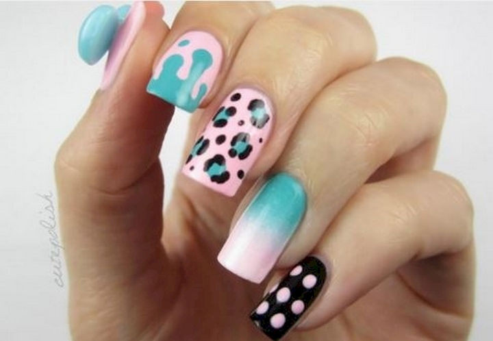 17 Cotton Candy Nails - Super cute cotton candy nail art.