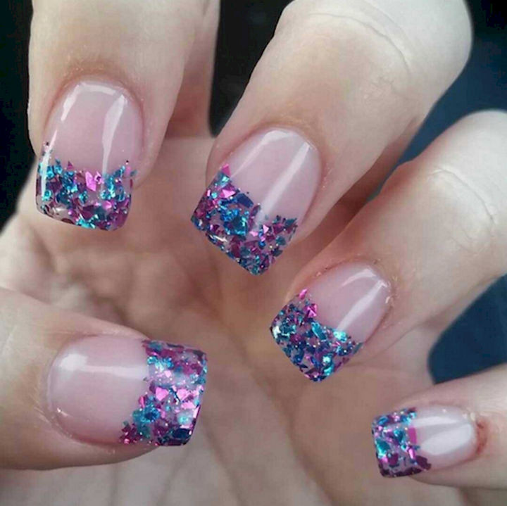 17 Cotton Candy Nails - Sparkly confetti tips.
