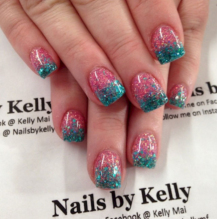 17 Cotton Candy Nails - Polished cotton candy glitter nails.
