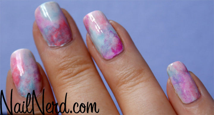 17 Cotton Candy Nails - Cotton candy sponge nails.