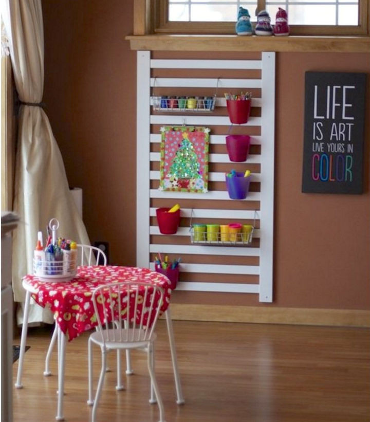 19 Ways to Repurpose Baby Cribs - Build an art center that kids will love.