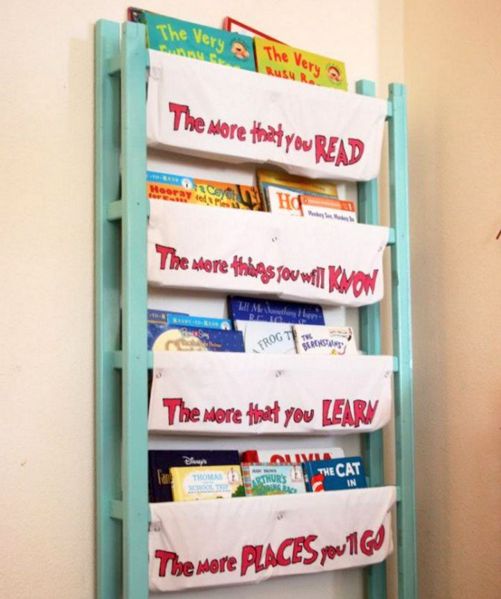 19 Ways to Repurpose Baby Cribs - Build a book holder for the children's room.