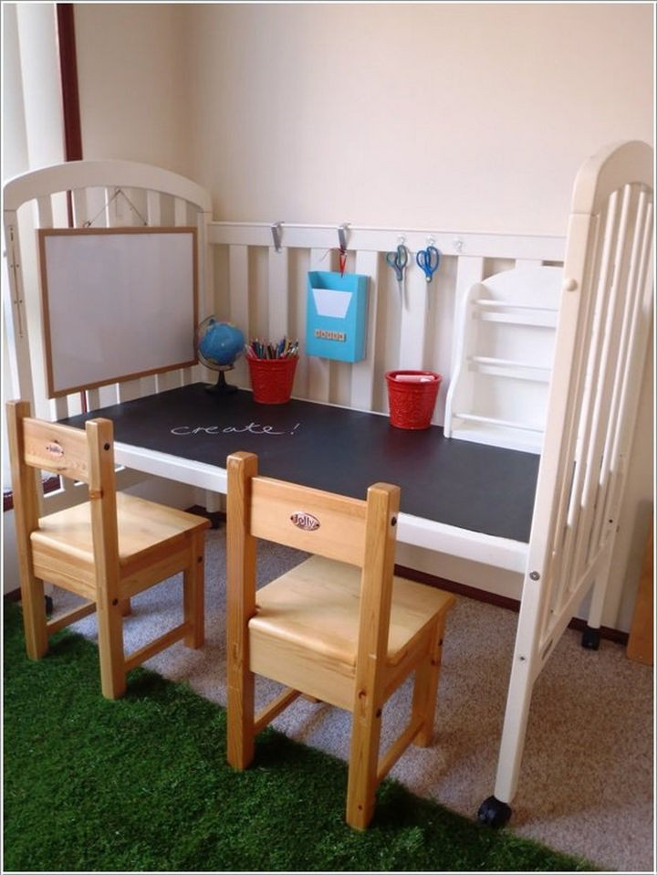 19 Ways to Repurpose Baby Cribs - Build a play tablefrom an old crib.