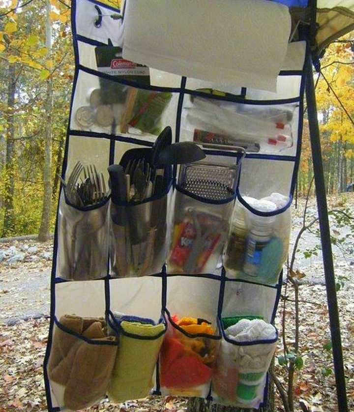 21 Clever Shoe Organizer Ideas - Organize your camping supplies.