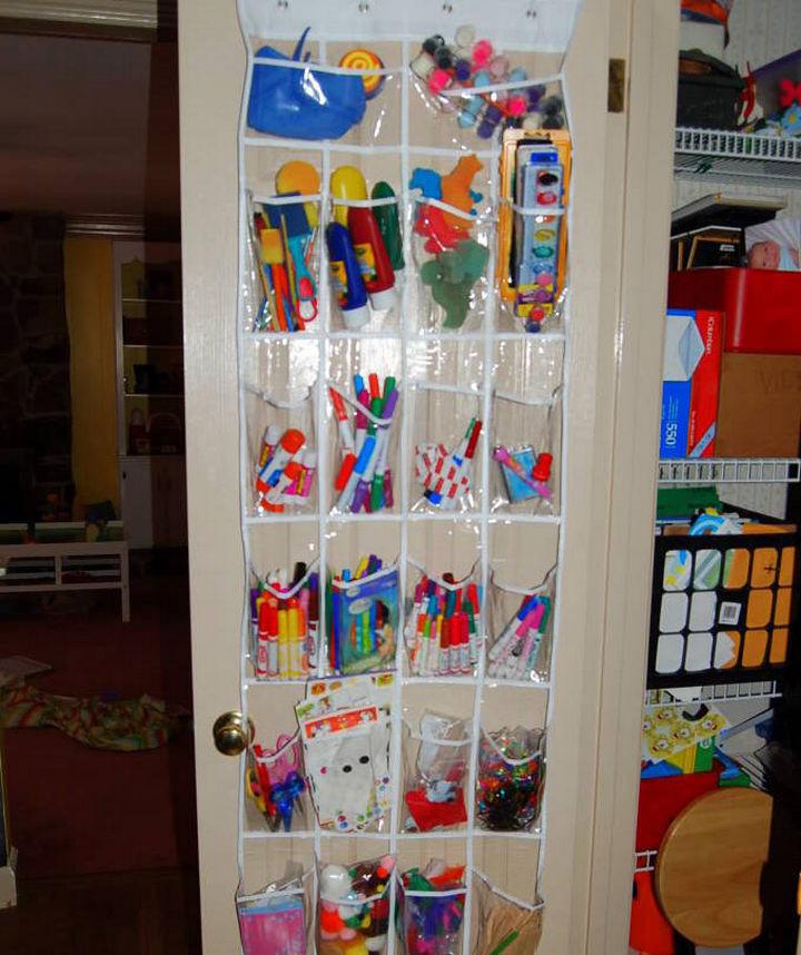 21 Clever Shoe Organizer Ideas - Organize kids craft supplies.