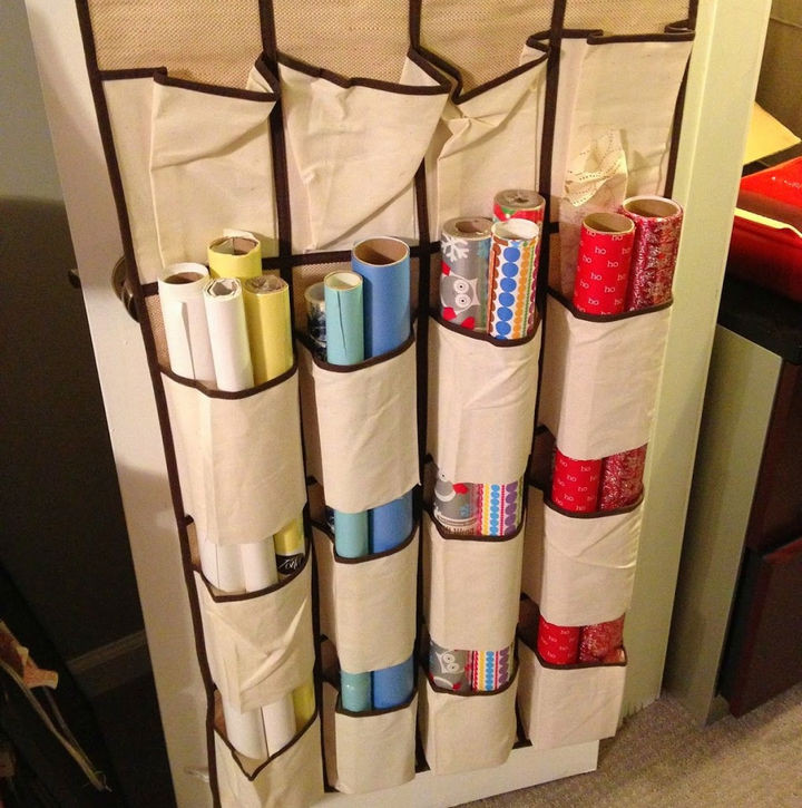 21 Clever Shoe Organizer Ideas - Keep your gift wrap in perfect shape.