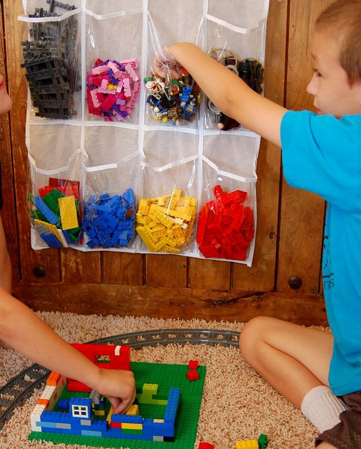 21 Clever Shoe Organizer Ideas - Sort and organize LEGO blocks.