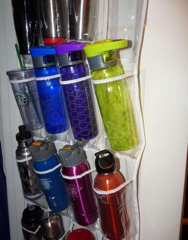 21 Clever Shoe Organizer Ideas - Water bottles galore.