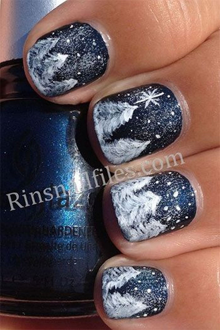 39 Winter Nails - Gorgeous winter wonderland.