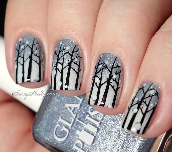 39 Winter Nails - Winter forest nail art.