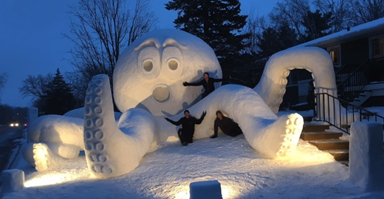 Three Brothers Created an Epic Snow Octopus in Their Yard. And with It, They Will Help Save Lives.