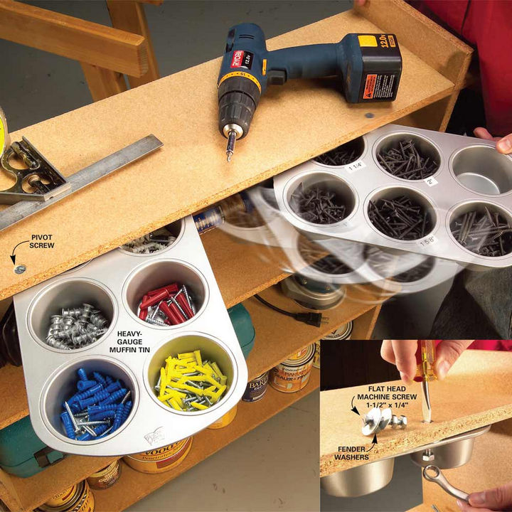 13+ Muffin Pan Hacks - Create a swing-out hardware organizer.