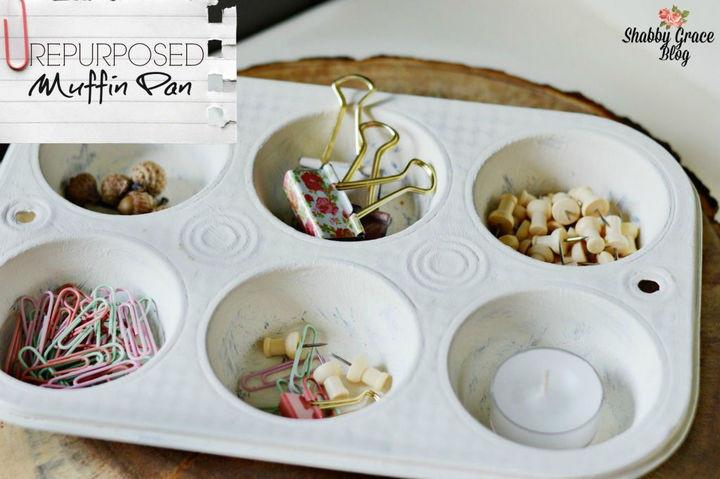 13+ Muffin Pan Hacks - Create a jewelry or desk organizer.