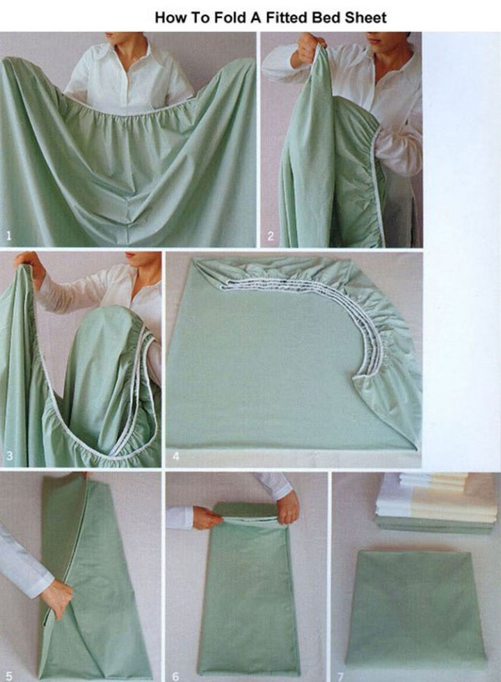 17 Life Hacks to Help Simplify Your Life - Learn how to fold a fitted bed sheet with this technique.