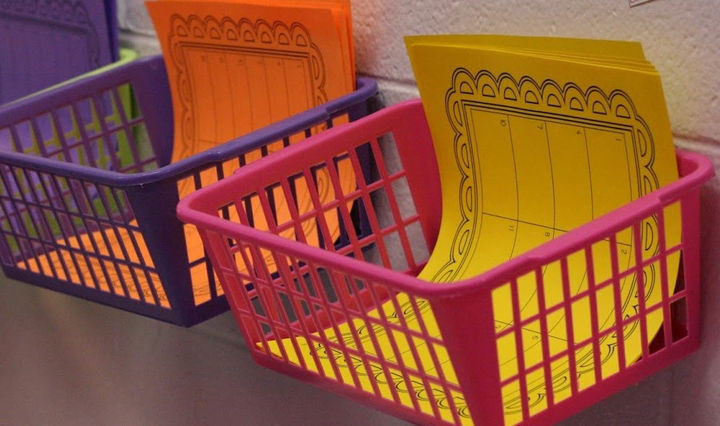 Use baskets to organize your kids crafting supplies.