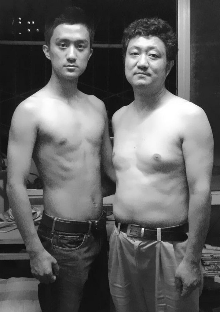 Father takes photo with his son every year. This one was taken in 2007.