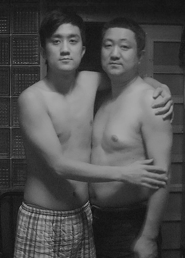 Father takes photo with his son every year. This one was taken in 2009.