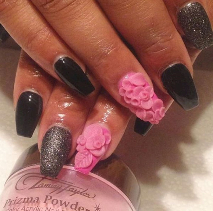 18 3D Nails - Gorgeous pink flower textures.