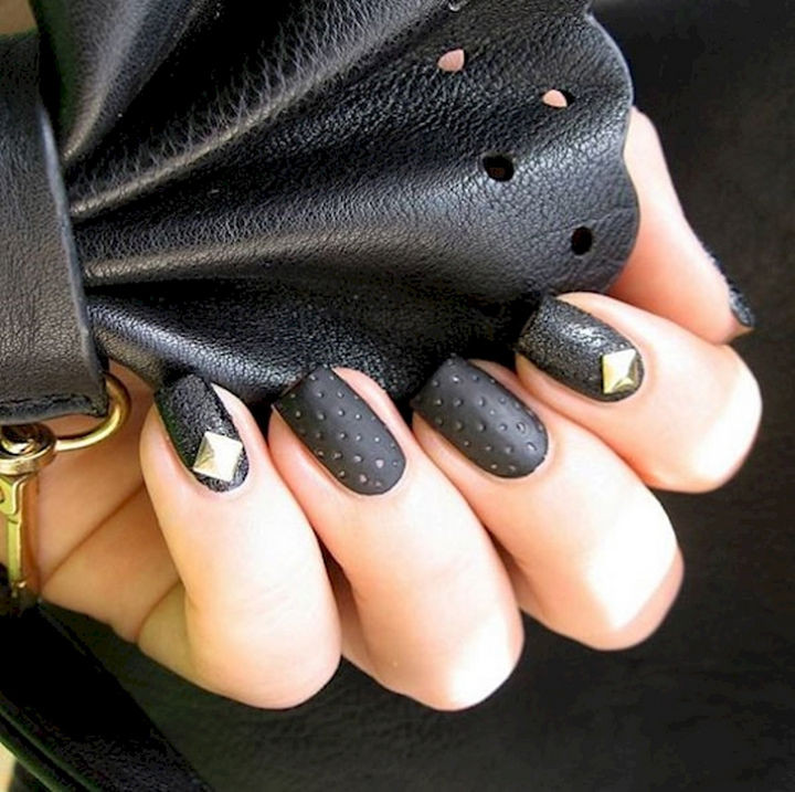 18 3D Nails - Add some class with perforated leather and gold studs.