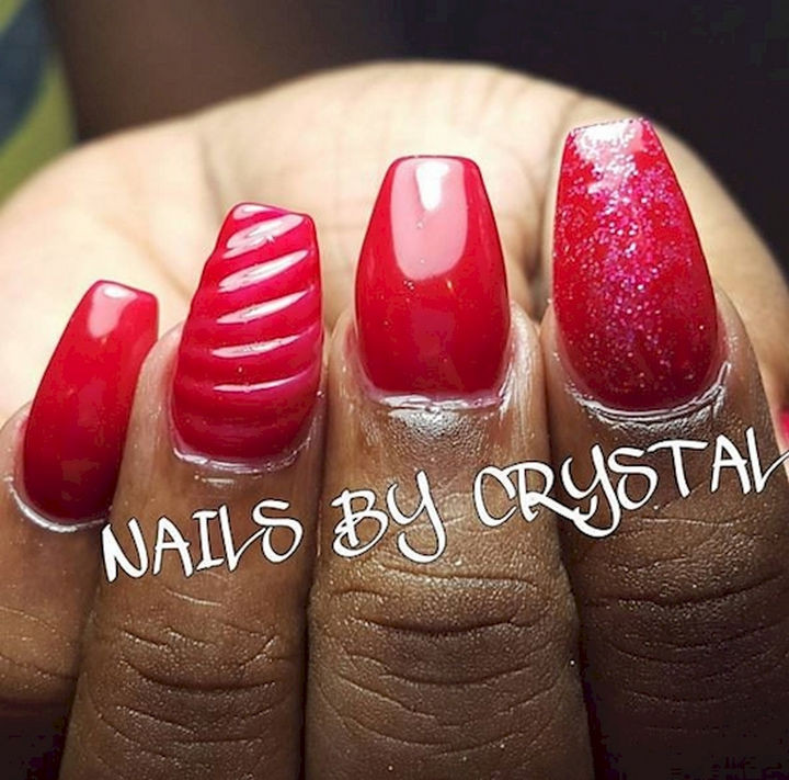 18 3D Nails - Make a statement with luscious red textured nails.