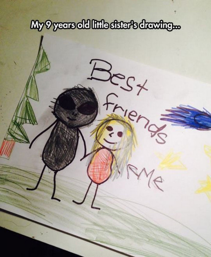 35 Funny Drawings from Kids - Who doesn't want an alien as a friend?